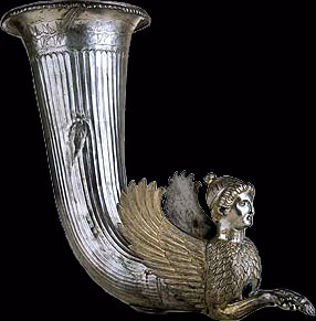 Rhyton with figure of a sphinx