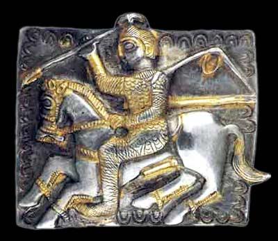 Placa com Horseman.  O Tesouro Letnitsa
