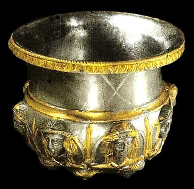 Silver Bowl with golden decorations. The Lukovit treasure